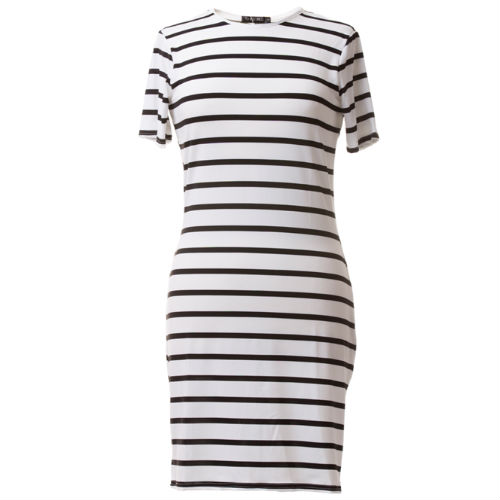Short sleeve dress - white and black