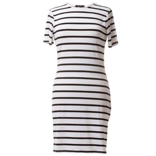 Short sleeve dress - white and black